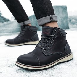 Lace ankLe booties online shopping - Winter Men Boots Outdoor Snow Ankle Boots with fur warm snow Male Lace Up Anti slip Booties British Shoes a4