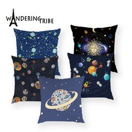 Discount red black white decor - Space Science Cushions Cover Cartoon Universe Throw Pillow Case Spaceship Decor Home Pillow Covers Customized for Sofa C