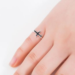 funny rings for women Australia - Oly2u Classic Black Airplane Adjustable Rings for Women Girls Cute Funny Transport Tool Jewelry for Women Kids Birthday Gift