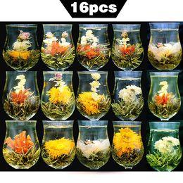 Tea gifT packs online shopping - 16 Pieces Blooming Tea Different Flower Handmade Blooming Flower Tea Chinese Flowering Balls Herbal Crafts Flowers Gift Packing