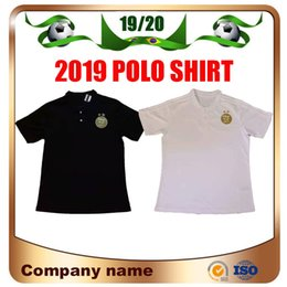 Train sTands online shopping - 2 Stars Algeria Soccer Polo Shirt Soccer Jersey African Cup Algeria Black POLO Training White Stand collar Football POLO