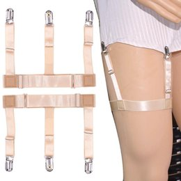 Elastic Belt Ring Australia - 1pair Men Shirts Clip Garter Holder Suspenders Wrinkle Proof Leg Ring Hoisting Socks High Elastic Thickening Garter Belts 8C1092