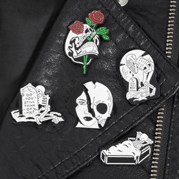Skeleton Gifts Australia - Hot Tombstone Coffin Crying Skelelton Pins Brooches Lapel pins Badges Punk Halloween Skeleton Jewelry Gift