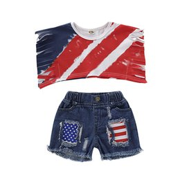 $enCountryForm.capitalKeyWord Australia - Kids Cowboy Shorts Set Girl Sleeveless Striped Tassel Tops Stars Broken Trousers Set American Flag Independence National Day USA 4th July