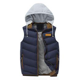 Discount khaki collared vest - 2019 Men's casual vest cotton sleeveless vest Homme Hooded Detachable Waistcoat