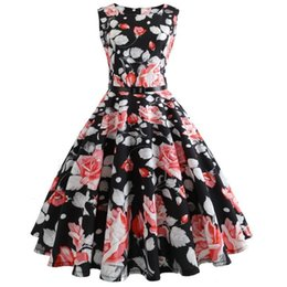 b8a277805f good quality 2019 Women Vintage Printing Bodycon Sleeveless Casual Evening  Party Prom Swing Dress Vintage Rockabilly Dresses