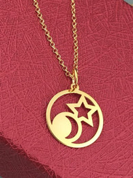 Necklaces Pendants Australia - 10pcs Geometric circle Dainty Crescent Moon star Necklace Cosmic star sun Minimalist Half Moon Necklace Chain Pendant Jewelry Accessory Gift