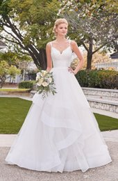 $enCountryForm.capitalKeyWord UK - Newest Elegant Corset Wedding Dresses White Spaghetti Straps Sheer Back Lace Wedding Dress with Cascading Skirts Plus Size Bridal Gowns