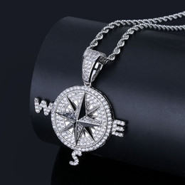 Ice chaIn gold necklace online shopping - 201909 Fashion Compass Pendant Ice Out Chain Necklace Gold Silver Plated Punk Charm Necklaces Men Women Hip Hop Jewelry Birthday Gift M631F
