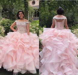 CasCade laCe online shopping - High Qua ity Pink Beaded Crystals Tiers Ruffles Quinceanera Prom Dresses Organza Ball Gown Off The Shoulder Evening Party Sweet Dress