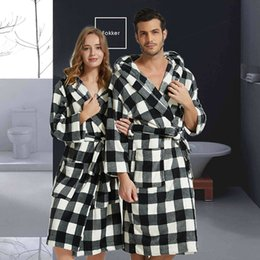 ae0b7c4e89 Men Bathrobe Winter Thick Warm Coral Fleece Kimono Bathrobe Gown Robe Dress  Lovers Nightwear Pijama Sleepwear Black and White