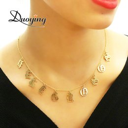 Necklaces Pendants Australia - Duoying Old English Style Custom Tiny Letter Pendant Necklaces Beauty Vintage Font Personalized Choker Name Necklace For Etsy J190620