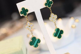 Discount natural malachite jewelry Women Jewelry Dangle Earrigns 18K Gold Plated 5A Natural malachite Women Clover Earrings Women gift