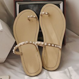 $enCountryForm.capitalKeyWord Australia - Women Flip Flop Fashion Toe Ring Beaded Pearl Beach Slippers Flat Slides claquette femme chaussure kapcie damskie chausson femme