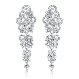New Bridal Earrings with Crystals Rhinestones Water Drop Earring Bridal Jewelry Findings Wedding Accessories For Brides BW-042 on Sale
