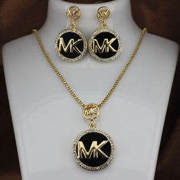 M earrings online shopping - Fashion M brand Necklace Stud Earrings Set Necklace Woman Full diamond flashing letter earrings