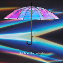 Filming gear online shopping - Laser Transparent Umbrella Long handle Umbrella Waterproof Sun Rain Umbrella Rainbow Film Umbrellas Rain Gear CCA11091