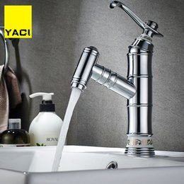 Kitchen Tap Two Faucet Australia - YACI Bathroom Faucet Brass Basin Tap Tall Bamboo Hot Cold Water With Two Pipes Kitchen Outdoor Garden Taps hot and cold