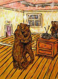 Dance Paintings Australia - Animals Art Dancing Bear , Oil Painting Reproduction High Quality Giclee Print on Canvas Modern Home Art Decor
