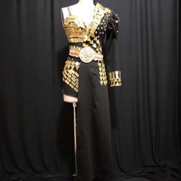 Female singers costumes online shopping - Gold Mirrors Bodysuit Half Jacket Black Coat Design Party Set Dj Female Singer Nightclub Bar Dance Costume Sequins Clothes DT547