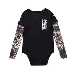 cute tattoos Canada - 3D tattoo Baby Rompers Tattoo Sleeves Rock Baby Boy Romper Halloween Infant Girls Jumpsuit Long Sleeves Baby Print Clothes 2020
