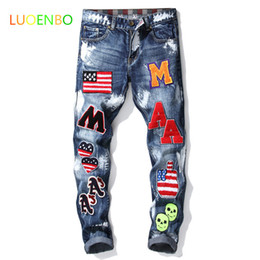 american flag paintings Australia - 2020 Men's American flag badge patches blue denim jeans Slim straight letters painted long pants Slim and elastic Free jeans