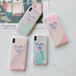 color change phone case 2019 - Color change embroidery love iphoneXSmax mobile phone shell suitable iphone7 8plus laser gradient protection sleeve fema