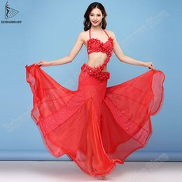 bra sleeves NZ - New Women Oriental Dance Bra Skirt Belt Sleeves 4pcs Set Red Bellydance Bra Carnaval Dress Performance Clothes Sexy
