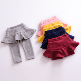 Baby Cotton Winter Tights Pants NZ - Girls Leggings Children Candy Colors Fake two pieces Skirt Pants Autumn Winter Baby Tights High Qulity Pants Kids Clothing 5 Colors Z01