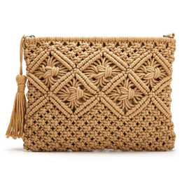 women summer clutch NZ - 2020 New Clutch Purses for Women Tassel Straw Handbag Shoulder Bag Vintage Handwoven Bag Summer Beach