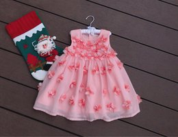 EmbroidEry dEsigns flowEr girl online shopping - Hot Girl Kids Clothing Dress Summer sleeveless Pink Stereo Flower design Boutique Embroidery cotton girl princess Dress