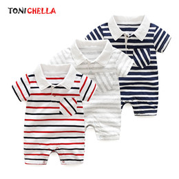Babies Polo Australia - Baby Polo Rompers Summer Stripe Short Sleeve Jumpsuits Cotton Newborn Toddler Pullover Boys Girls Casual Style Clothing Cl5200 J190524