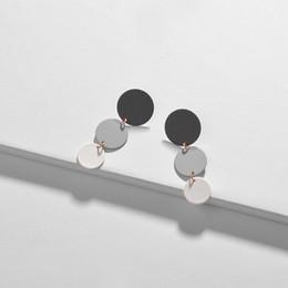 Colour Block NZ - HUIDANG Multi Colour Block Earrings Matte Colored Round Disc Stud Earrings for Lady Bijoux Accessories