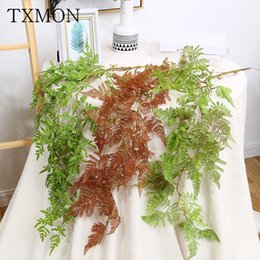 fake vines decoration UK - 95cm Simulation plant wall-mounted Persian grass rattan fake flower bouquet vine fern green plant wedding decoration fake leaves