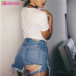 $enCountryForm.capitalKeyWord NZ - Fashion Summer Denim Womens Shorts Sexy Butt Ripped Jeans Shorts Fringe High Waisted Shorts For Women Cool Hole Short Jeans T5190617