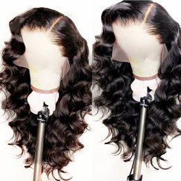 Long bLack body wave hair online shopping - Natural Looking Soft Long Body Wave Hair Black Color Heat Resistant Synthetic Lace Front Wigs Glueless Swiss Lace Wigs for Black Women