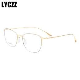titanium eyewear 2019 - LYCZZ Popular Metal Round Large Frame Glasses Decorative Spectacles Lightweight Clear Lens Retro Optica lTitanium alloy