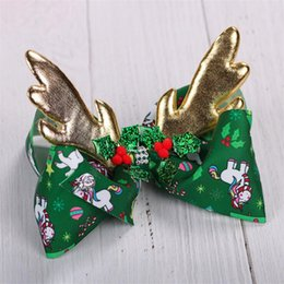 $enCountryForm.capitalKeyWord Australia - Christmas 8 inch Jojo Siwa Bows With Clip hair accessories for girls JOJO Hair Bows 2 Colors Christmas Elk Hair Bow DHL SS292