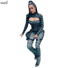$enCountryForm.capitalKeyWord NZ - VAZN Spring Sexy Night Club Fashion Novelty Style 2019 Jumpsuits Letter High Collar Full Sleeve Slim Hollow Out Romper SMD5809