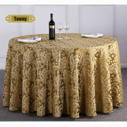 CroCheted Cotton table Cloth online shopping - 1pc Chinese Luxury Floral Hotel Banquet Table Cloth Round Restaurant Thick Polyester Tablecloth Home Table Cover Coffee yellow Y19062103