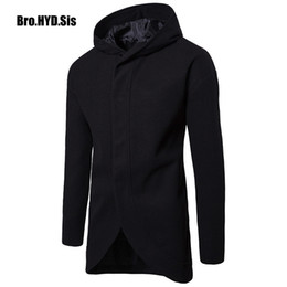 Male Clothing Styles Canada - Winter Wool Blends Trench Coat Men Slim Fit Hoodie Japan Korean Style Office Suit Fashion Male Hoodied Jackets Man Clothing