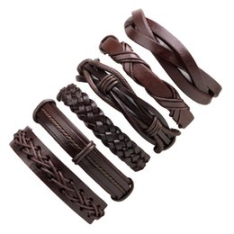 Wholesale wax rope PU leather Bracelets Bangles mens weave multilayer leather bracelets Fashion Braided Handmade bangles hot sale