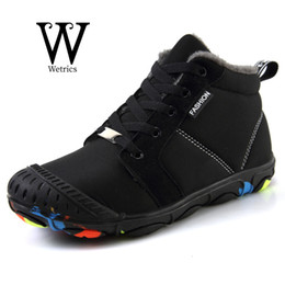 waterproof snow boots boys Australia - WETRICS Winter Kids Boots Boys Waterproof Plus Fur Warm Snow Boots Non-slip Lace-up Sneakers Outdoor Walking Trainer Ankle
