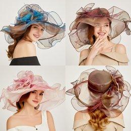 Organza hats fOr wOmen online shopping - Elegant Organza Bridal Hats for Women British Style Sinamay Formal Church Hat Fascinator Romantic Fashion Wedding Hats For Bride Accessories