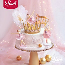Discount ballet gifts for girls - 3PC White Pink Ballet Girls Decoration Hook Flower Happy Brithday Cake Topper Wedding Bride for Party Supplies Baking Lo