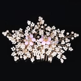 $enCountryForm.capitalKeyWord Australia - Handmade Simulated-pearls Hair Combs Tiaras Pink Bridal Hair Sticks For Wedding Evening Hair Accessories