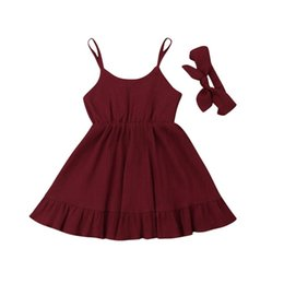 Ruffle Girl Dresses UK - Summer Toddler Baby Girls Party Dress Ruffle Solid Sundress Clothes Outfits