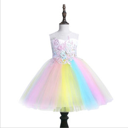 $enCountryForm.capitalKeyWord Australia - Summer Girl Floral Tutu Dress Colorful Lace Rainbow Kids Party Princess Wedding Dress Girl Evening Dress Children Formal Clothes