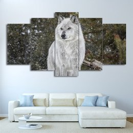 canvas prints free shipping NZ - 5 Piece HD Printed Canvas Art Snow Wolf Painting Animal Wall Pictures For Living Room Modern Modular Free Shipping