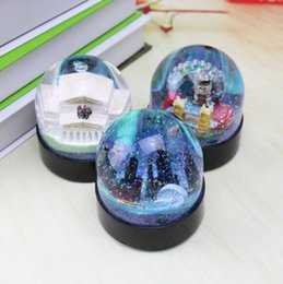 Crystal Ball Base Australia - Architectural crystal ball with LED light pen insert Creative round base semi-circle home Couple gift student gift